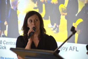 Victoria Barton recieving an AFL New Zealand Community Award on behalf of Sport Auckland.