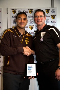 Siope Ngata of Aorere College, who holds an AFL International Scholarship with the Hawthorn Hawks, with AFL National Secondary School Development Manager Mick Coultard.