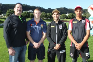 Warren Jones (left) helped select the 2014 AFLNZ Heritage Team, which included Ben Miller, Shane Savage and Joe Baker-Thomas.