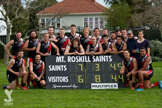Mt Roskill celebrating their win over the Waitakere Magpies.
