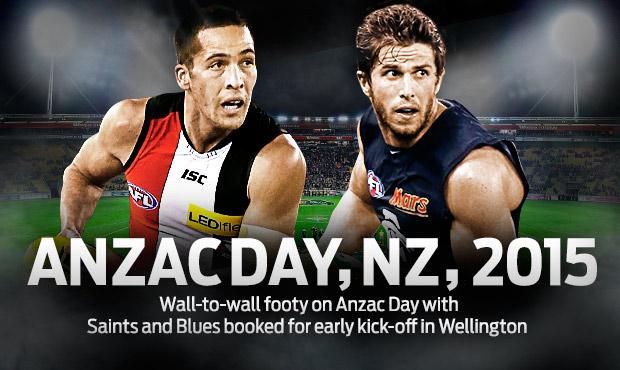 Shane Savage Carlton player ANZAC 2015 promo photo AFL Media